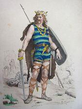 COSTUME DE PARIS gravure coloriée. Guerrier Franc Ve siècle