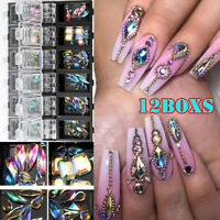 3D AB Diamant Edelstein Nagel Glitter Strass Glas 12 Grids Nail Art Decor Yd