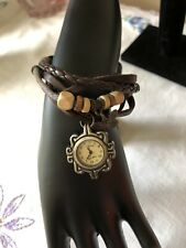 Vintage Leather Bracelet Watch Charm Beads Snap Closure
