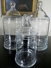 3 Vintage Hand Blown Glass Lidded Apothecary Display Candy / Dresser Jars