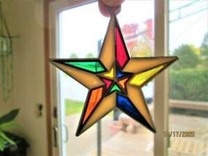 VINTAGE COLORFUL 3 INCH CHRISTMAS STAR SUN CATCHER ORNAMENT
