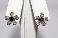 .20CT BLACK & WHITE DIAMOND CLUSTER FLOWER STUD EARRINGS 10K WHITE GOLD