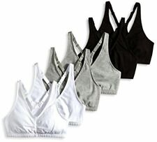 Fruit of the Loom Women's Shirred Front Sports Bra, Heather, Black, Size 34 ncan