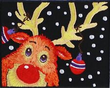 """Christmas Reindeer Iron On Patch 3.5"""" x 2.8"""" Free Shipping Holidays P4296"""
