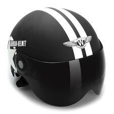 Black Motorcycle Bike Cruiser Helmet Half Open Face Sun Visor Adjustable Size