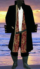 5PC MEN Renaissance Chenille Vevet RED BLACK Tunic, cotton PIRATE JACKET COSTUME