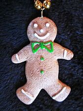 "Tasty Looking ""Gingerbread Man"" Mardi Gras Christmas Necklace Cookie (B987)"