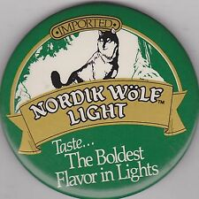 "VINTAGE 3"" PINBACK #31-138 - BEER - NORDIK WOLF LIGHT"