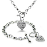 Stainless Steel Best Mom in the World Heart Charm Bracelet, Necklace, Set