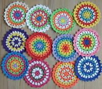 12 Assorted Crochet Round Granny Squares Rainbow Doilies Lot For DIY Crafts