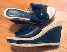 Azura Narcisse Slide Wedge Sandals, Made In Italy, Black or Dark Navy, 35 or 5.5