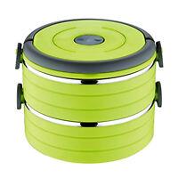Lunchbox  Mit 2 Etagen Grün | Vesperbox Behälter | Frühstücksdose Vesperdose