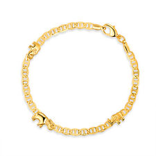 """Flat Marina Style Chain Made In Brazil Sevil 18K Gold Plated Elephant Anklet 10"""""""