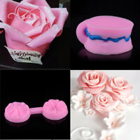 Silicone 3D Pink Rose Flower Fondant Cake Chocolate Sugarcraft Mould Mold Tools