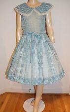 Vintage 50's Aqua Blue Nylon Organza Bow Print Rockabilly Swing Dress Sz Medium