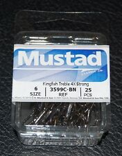 25 Mustad 3599CBN-06 4X Strong Kingfish Black Nickel Size 6 Treble Hooks