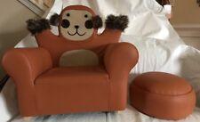Plush Monkey Child Cushioned Chair Rocker & Footrest Nwot Brown Faux Fur