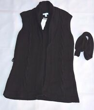 Charter Club Knit Cardigan Sweater Vest with belt Black size Medium NWT