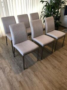 6 Quality Beige Fabric Dining Chairs Freedom brand