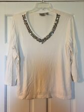 CHICO'S Tunic Top Size 3 White ¾ Sleeve Beaded V Neck Blouse
