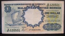 1959 Malaya & British Borneo, Currency Board,1 Dollar Note** FREE U.S SHIPPING**