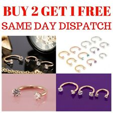 CZ Horseshoe Piercing Barbell Ring Surgical Steel Tragus Nose Septum Ear Nipple