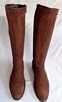 LADIES ITALIAN  KNEE HIGH  BROWN SUEDE LEATHER BOOTS SIZE 3/36 IN GOOD CON.