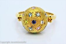 14K Yellow Gold Multi-color Stones Ball Ring