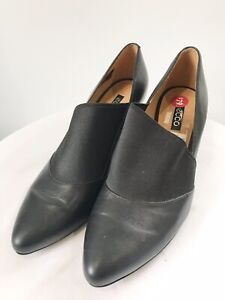 """ECCO Size 40 Black """"Alicante"""" Leather + Elastic Gusset Formal High Heels Shoes"""