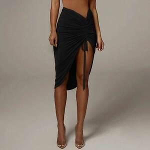 Women's Sexy Ruched Drawstring Front Split Asymmetrical Hem Bodycon Midi Skirt