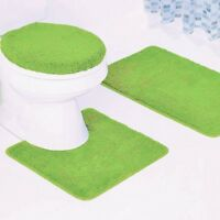 NEW 3PC BATHROOM SET 1 BATH RUG 1 CONTOUR MAT 1 TOILET LID COVER #6 LIME GREEN