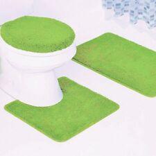 New 3Pc Bathroom Set 1 Bath Rug 1 Contour Mat 1 Toilet Lid Cover #6 Lime Green