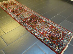 Alt Handgeknüpfter Perser Orientteppich Wolkenband Kazak Läufer Old Rug 270x70cm