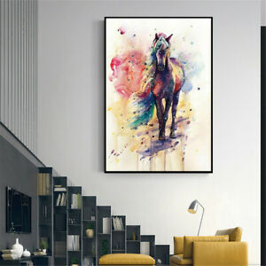 Watercolour Horse Animal Canvas Picture Print Poster Wall Modern Art Home Decor