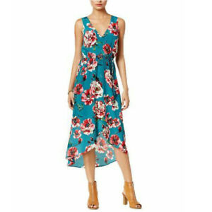 Lucky Brand Floral 100% Silk Faux Wrap High Low Dress XS