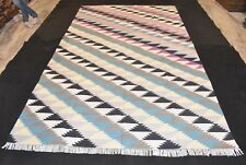 Handmade Geometric Multi Color Cotton Vintage Rug Rectangle Luxury Rug 6x9 Ft