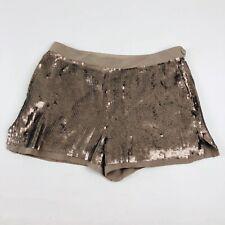 Club Monaco Sequin Shorts AI28 Women Size 0 Brown Beige Tan Disco Clubbing Shiny