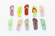 Flip Flop Wooden Button Shoes Summer Pattern Two Holes Small Special 25mm 3pcs