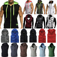 Men Hoodie Gym Muscle Vest Hooded Tank Sleeveless Tee Tops Sweater Waistcoat Zip