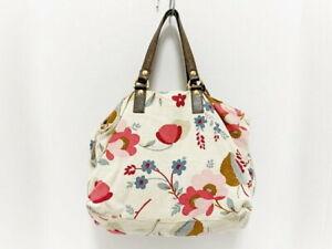 Marni Tote Bag Ivory Multi Floral Print Canvas Leather Used