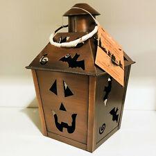 Hallmark Vintage Halloween Pumpkin Bats Brushed Metal Lantern Tea Light Holder