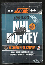 1992-93 SCORE HOCKEY BILINGUAL(CANADIAN) FACTORY SEALED JUMBO BOX - VERY RARE !