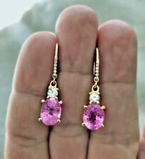 7.25ct Natural Burma Pink Sapphire Diamond Dangle Earrings 18k Gold
