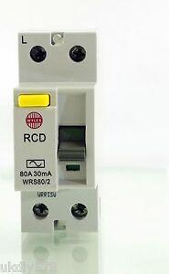 Wylex WRS80/2 2 Pole 80A 30mA RCD DIN Rail Mount