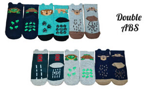Baby Toddler Boys Double Anti Non Slip Cotton Silicone ABS Socks 3Pairs 6-18Mnth