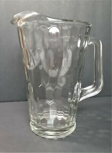 "Crystal Glass Water Pitcher 9"" Molded Crystal Pitcher 16A *203"