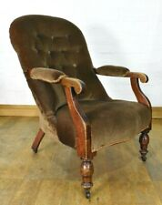 Antique Victorian upholstered button back library armchair - lounge chair