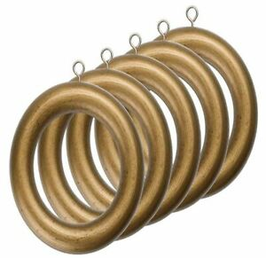 Drapery Curtain Wood Ring for 1 3/8 Inch Drapery Rod Gold Color Set of 5