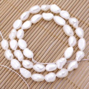 "Natural White Baroque Pearl Loose Beads Jewelry Making DIY 14"" Long 7*9-11mm"