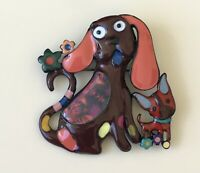 Unique artistic Two dogs Brooch pin enamel on metal